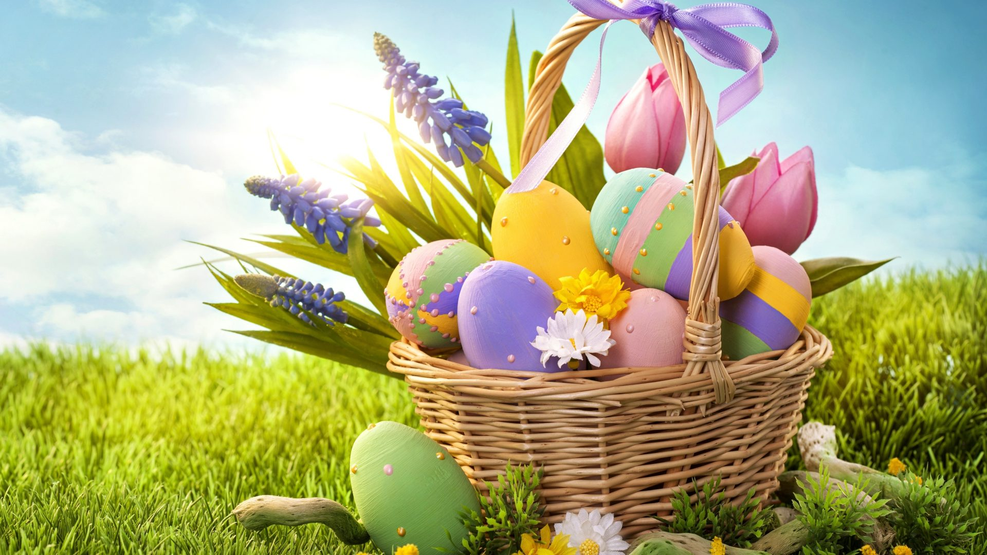 Easter Happy Purple Tulips Grass Clouds Pink Spring Beautiful Flowers Basket Sunlight Yellow Eggs Pastel Sky Free Wallpapers